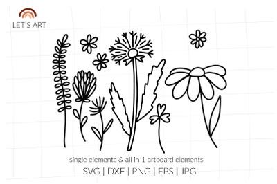 Meadow flowers svg for shirt. Daisy svg, dandelion svg, chamomile svg