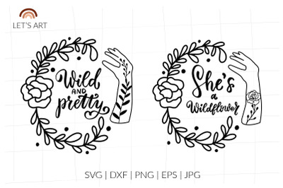 Wild and pretty svg, wild flowers svg, mehndi womans shirt