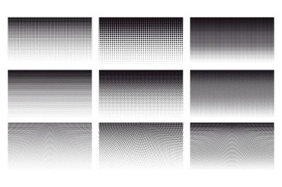 Gradient halftone dotted patterns. Abstract halftone dots gradient hor