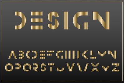 Luxury gold minimalistic alphabet
