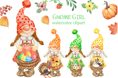 Gnome girl watercolor clipart. Festive clipart, gnomes with baskets