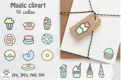 Cake clipart. Magic Unicorn clipart. Baby shower clipart. 16 designs.