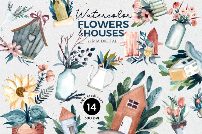 14 Watercolor Flower and House Cliparts - Plant Garden Hand-Painted