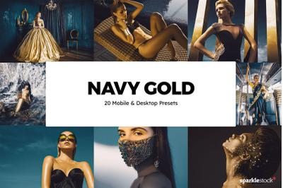 20 Navy Gold Lightroom Presets & LUTs