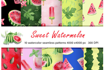 Sweet watermelon digital paper pack. Watercolor seamless patterns