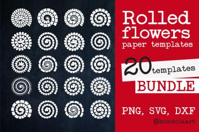 Rolled Flower paper template SVG. Rolled Flower SVG. Paper Cut Flower