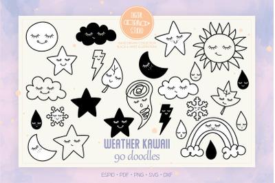 Weather Kawaii | Hand Drawn Star, Moon, Sun, Cloud, Rainbow, Tornado