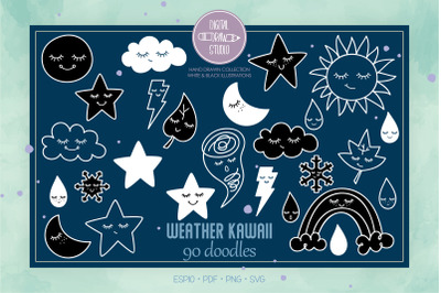 Weather Kawaii | White Star, Moon, Sun, Cloud, Rainbow, Tornado Doodle