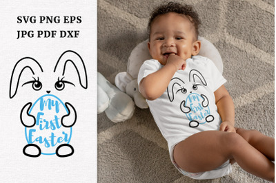 My First Easter Baby Boy Bunny SVG. First Easter Egg Hunt
