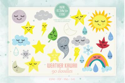 Color Weather Kawaii | Star, Moon, Sun, Cloud, Rainbow, Tornado Doodle