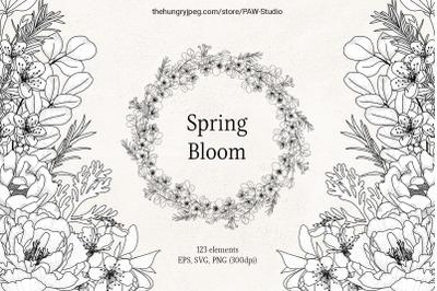 Floral Sketch Line Art Flower SVG Frame Botanical Monogram