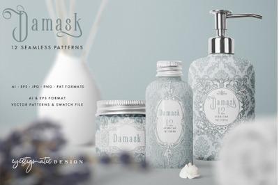 12 Seamless Damask Patterns - Light & Dark Gray Blue