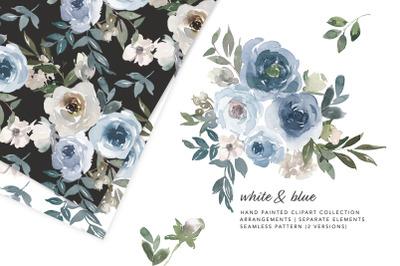 Dusty Blue Watercolor Floral Clipart Set