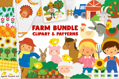 Farm Clipart and Patterns - Cute farm animals and farmers