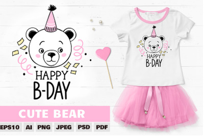 Cute bear clipart. Teddy bear sublimation, bear birthday.