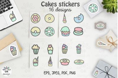Cake Stickers. Printable 16 sweet designs. PNG, JPEG, PDF files.