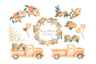 Orange Summer watercolor Clipart, Truck Vintage Orange Illustration