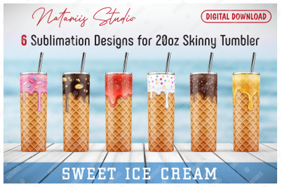 6 Realistic Ice Cream Patterns for 20oz SKINNY TUMBLER.
