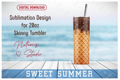 Realistic Ice Cream Pattern for 20oz SKINNY TUMBLER.