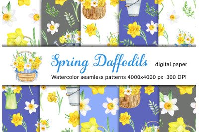 Watercolor Spring Daffodils seamless pattern. Easter, garden JPG