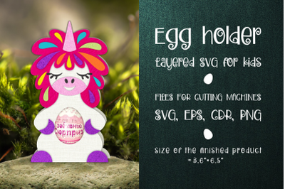 Unicorn - Chocolate Egg Holder template SVG