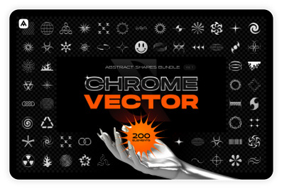 Chrome & vector abstract shapes bundle – 200 geometric design elements