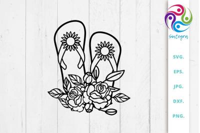 Floral Flip Flops SVG Cut File