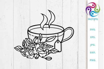 Floral Tea Cup SVG File
