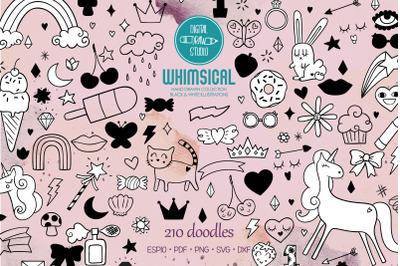Whimsical Doodles | Hand drawn Unicorn, Rainbow, Heart, Lips, Flowers