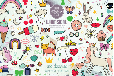 Whimsical Doodles | Hand drawn Unicorn, Rainbow, Heart, Lips