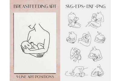 Breastfeeding svg clipart. Mom and newborn art. Woman line art.