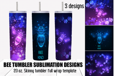 Bee tumbler sublimation designs. Skinny full wrap template.