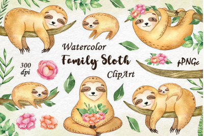 Watercolor family sloth clipart
