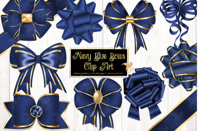 Navy Blue Bows Clipart