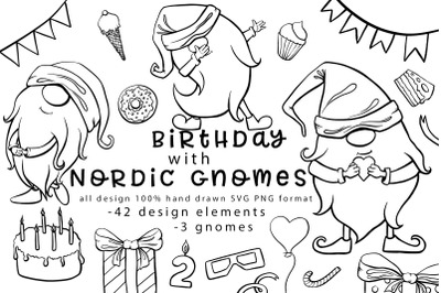 Birthday with nordic gnomes 100% hand-drawn