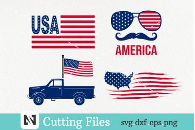 USA Flag Svg, America Svg, Fourth of July Svg Bundle
