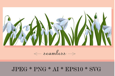 Seamless border, lilies of the valley, primroses, spring ribbon