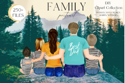 Family Clipart, DIY portrait, Custom Family Portrait, Sitting Family
