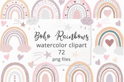 Boho Rainbow Watercolor Clipart Set