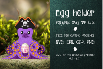 Octopus - Chocolate Egg Holder template SVG