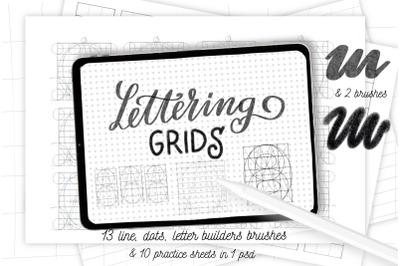 Procreate letter builder, lettering grids for Procreate. Lettering set