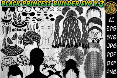 Black Princess Layered SVG Clipart Set 3