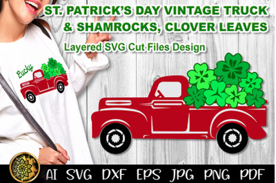 St. Patrick's Day Red Vintage Truck SVG Layered Cut Files Clip Art