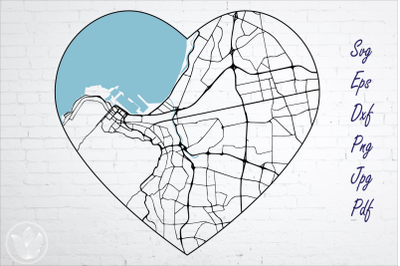 Cape Town South Africa road map svg, eps, dxf, png, jpg, Heart shaped