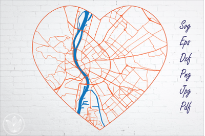 Budapest road map svg, eps, dxf, png, jpg, Heart shaped map, Cut file