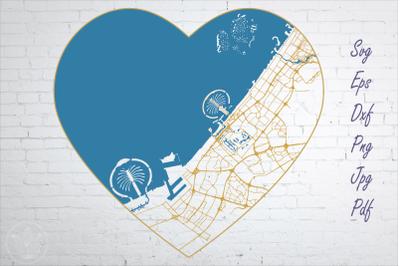 Dubai road map svg, eps, dxf, png, jpg, Heart shaped map, Cut file
