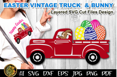 Easter Eggs & Bunny SVG Red Vintage Truck Clip Art Cut Files