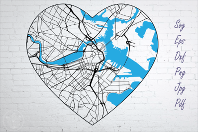 Boston road map svg, eps, dxf, png, jpg, Heart shaped map, Cut file
