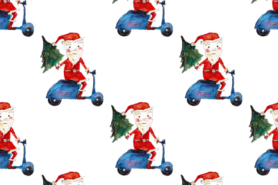 Xmas pattern: Santa on motorbike