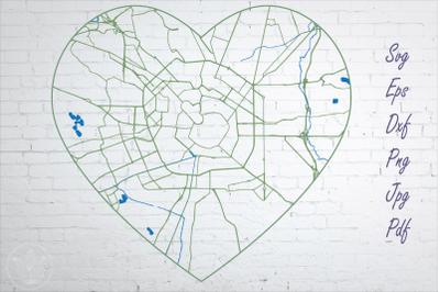 Milan road map svg, eps, dxf, png, jpg, Heart shaped map, Cut file